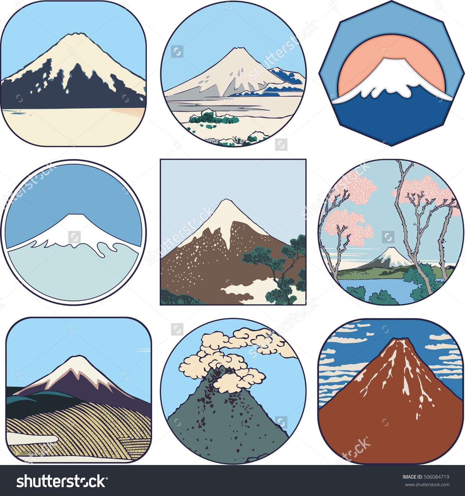Picturesque Sketches Mount Fuji Japan Set Stock Vector 506084719.