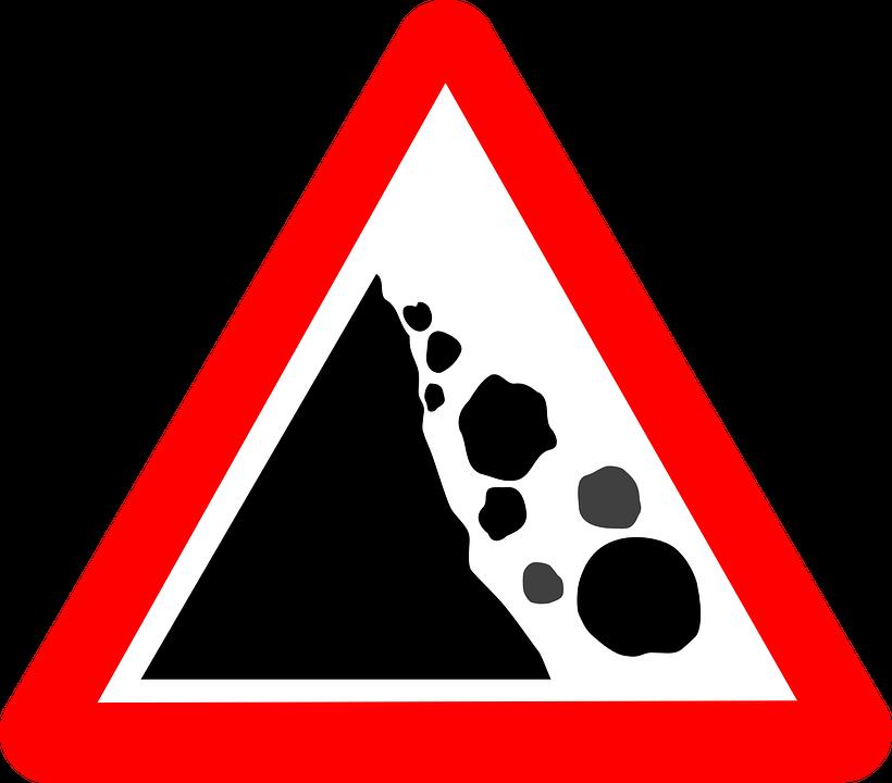 Free vector graphic: Rockslide Sign, Warning Sign.