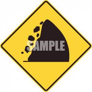 Falling Rocks Caution Sign.