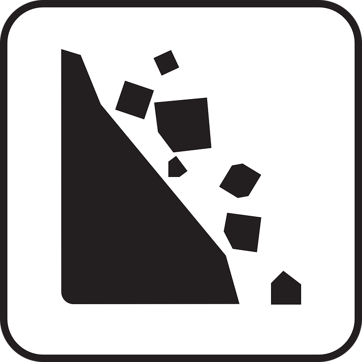 Free vector graphic: Rockfall, Falling Rocks, Rock Fall.