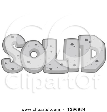 Clipart of a Word, Solid, Rock State of Matter.
