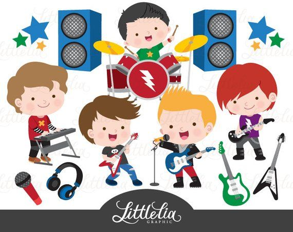 Rock star boys clipart.