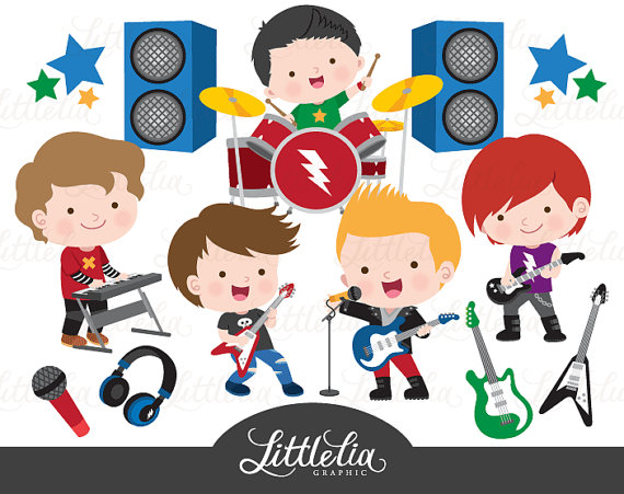 Rock star boys clipart.
