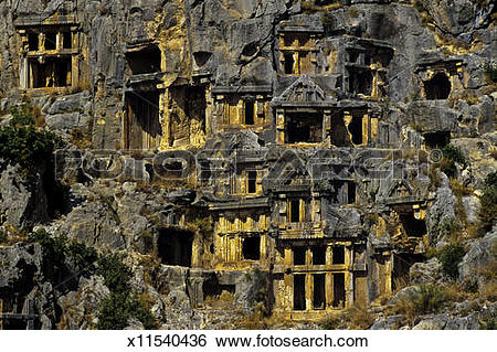 Stock Images of Lycian rock tombs, Turkey x11540436.