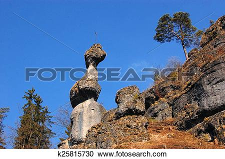 Stock Photography of Rock tower monolith near Pottenstein, Germany.