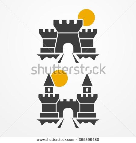 Castle on rock silhouette clipart.
