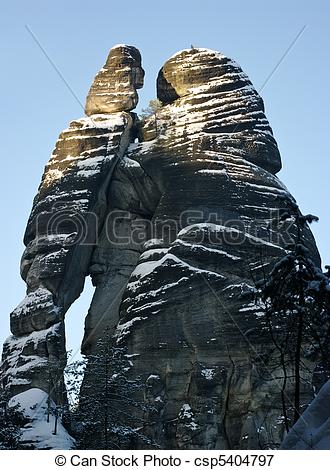 Picture of Man and woman silhouette in Rock Town, Czech Republic.