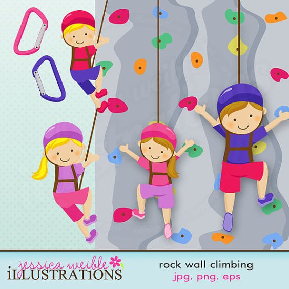 Rock Wall Climbing Girls Cute Digital Clipart.