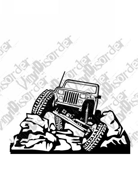 Jeep 4x4 4 x 4 Offroad Rock Climbing Vinyl Decal Car Window.