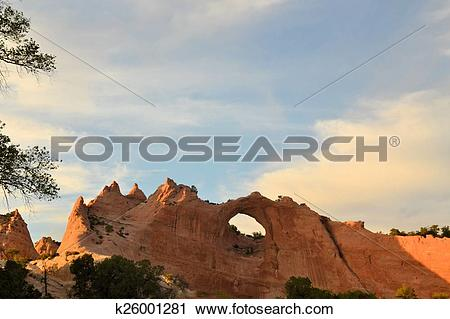 Stock Photography of Window Rock, capitol of Navajo Nation.