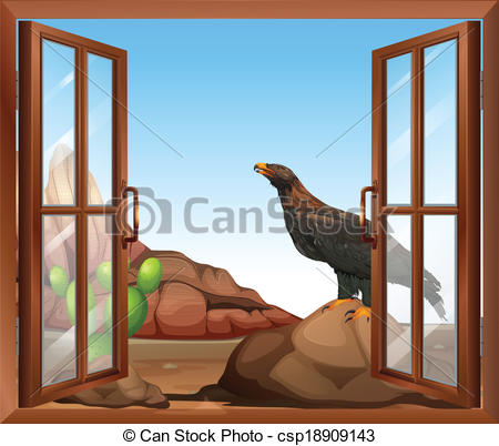 EPS Vector of An open window with a view of the bird above the.