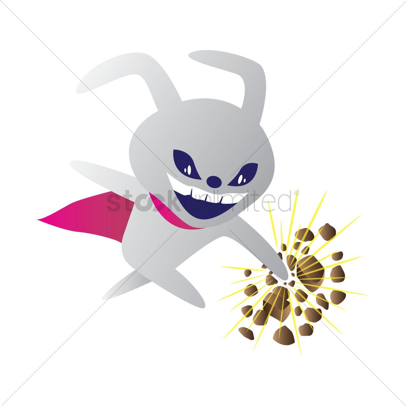 Alien smashing a rock Vector Image.