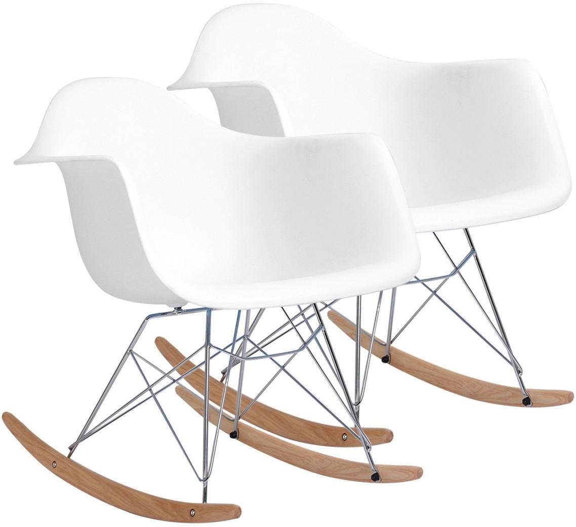 Rocking Chair Molded Plastic RAR Style Mid Century Modern Rocker 2 Pcs.