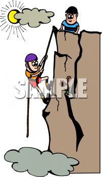 Royalty Free Clipart Image: Cartoon of aTwo Boys Rock Climbing.