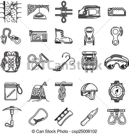 Rock Climbing Supplies Clip Art.
