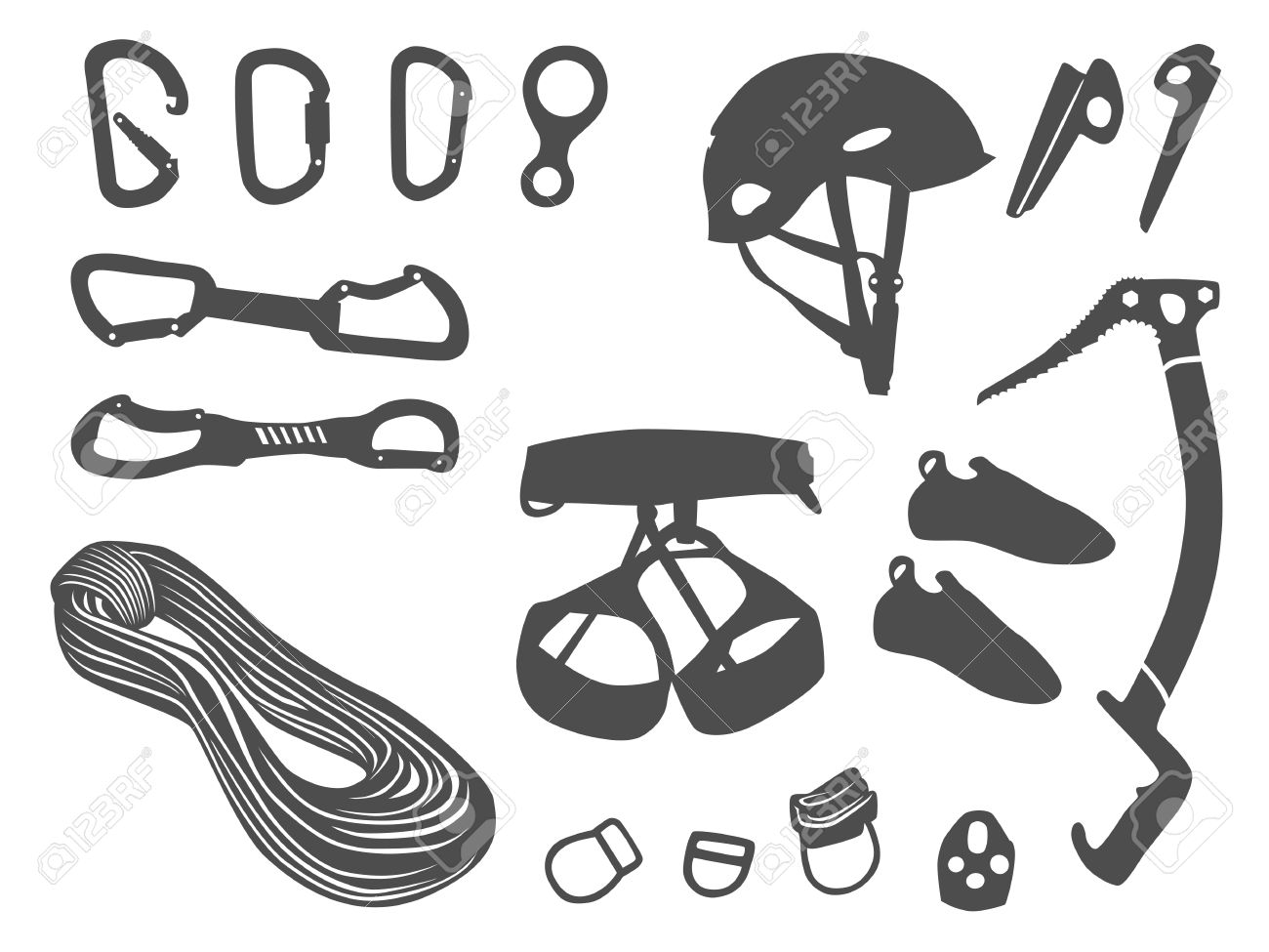 Climbing Equipment Vector Set Royalty Free Cliparts, Vectors, And.