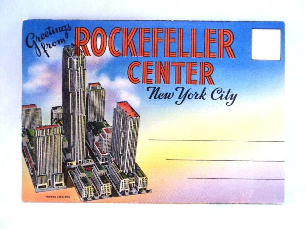 Rockefeller Center New York Fold Out Picture Post Card Vintage.