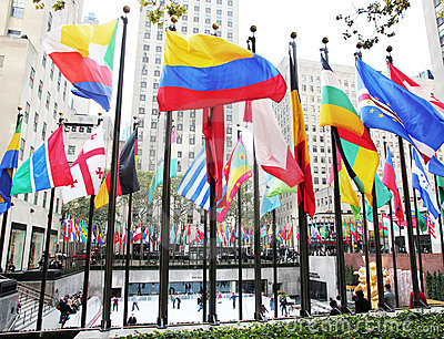 NYC: Flags At Rockefeller Center Editorial Stock Image.