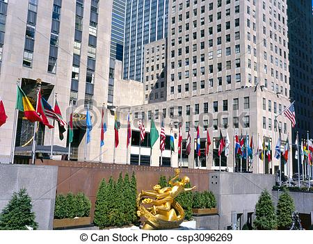 Stock Photographs of Rockefeller Plaza without people.