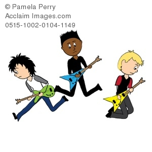 Clip Art Illustration of a Rocker Boys Playing Electric Guitars.