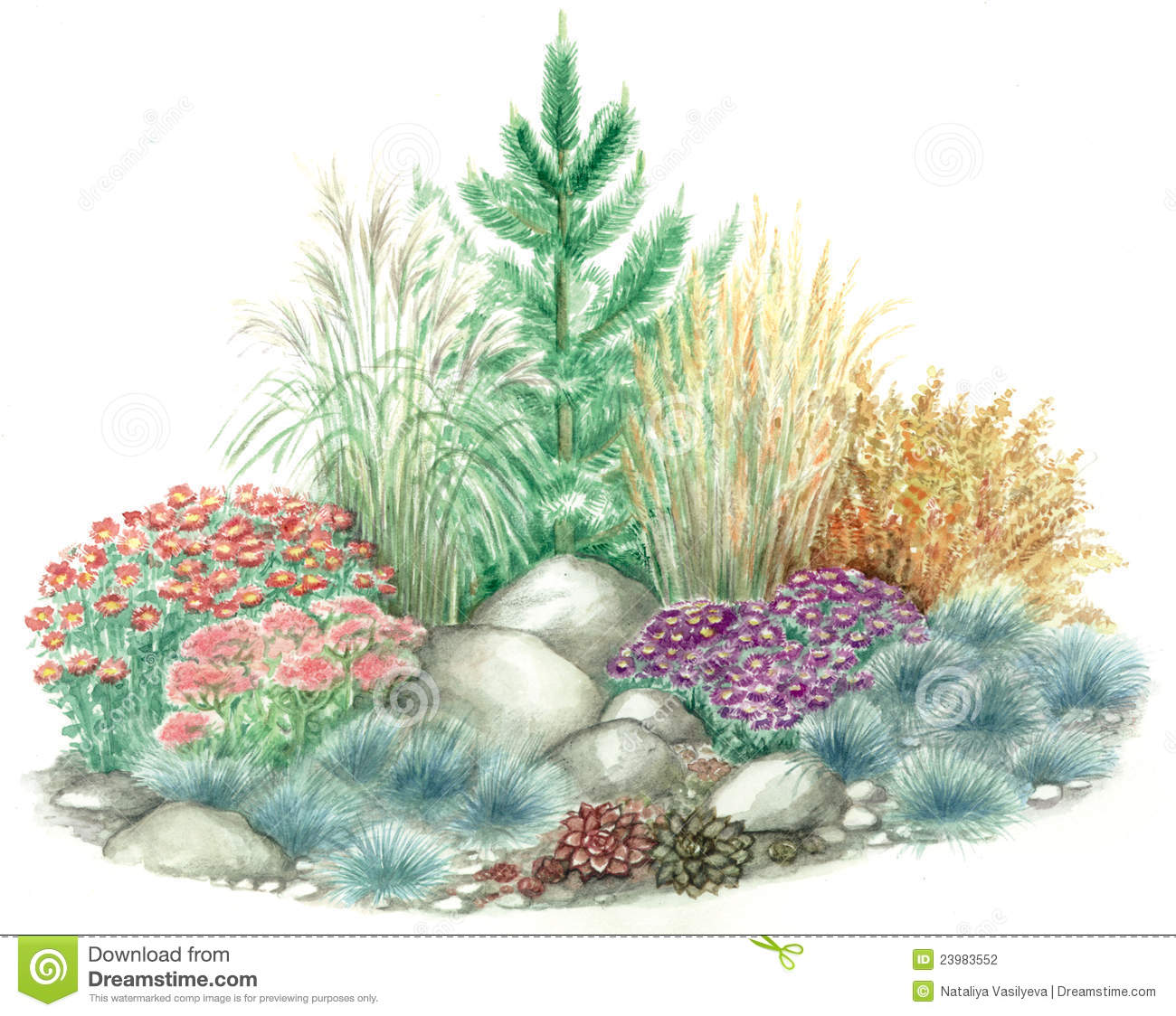 Rockery Garden Design Stock Photography.