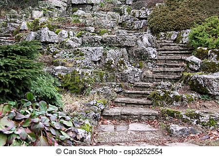 Stock Photo of A garden rockery.