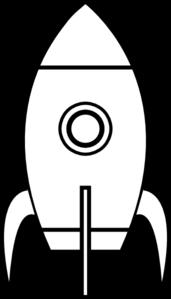 Black And White Rocket clip art.