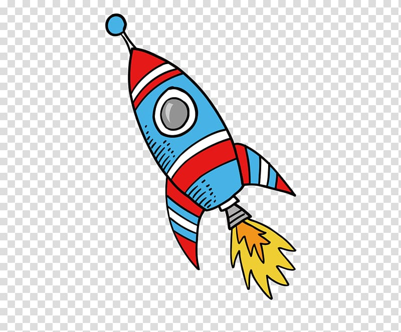 Blue and red rocket , Rocket Drawing , material cartoon.
