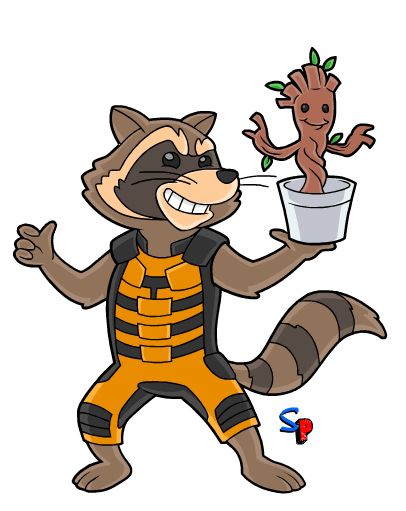Rocket and Groot in 2019.