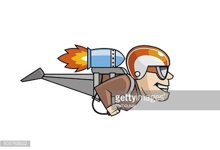 Rocket man character flying Clipart Image.