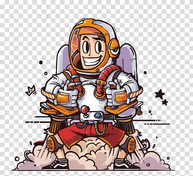 Cartoon Rocket Man Illustration, Rocket Man transparent.
