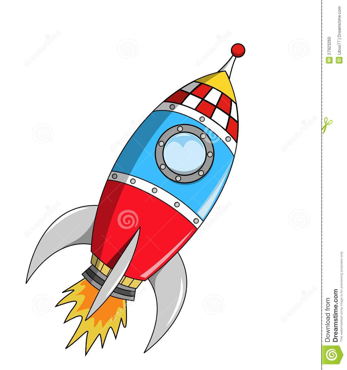 Cartoon Space Rocket On Mission Stock Photo.