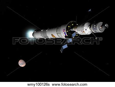 Stock Illustration of Phobos mission rocket brakes for Mars orbit.