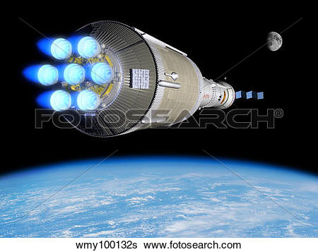 Stock Illustration of A Phobos mission rocket ignites its chemical.