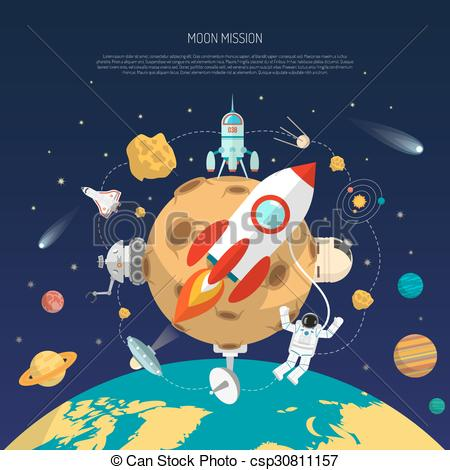 Clipart Vector of Space Mission Concept.