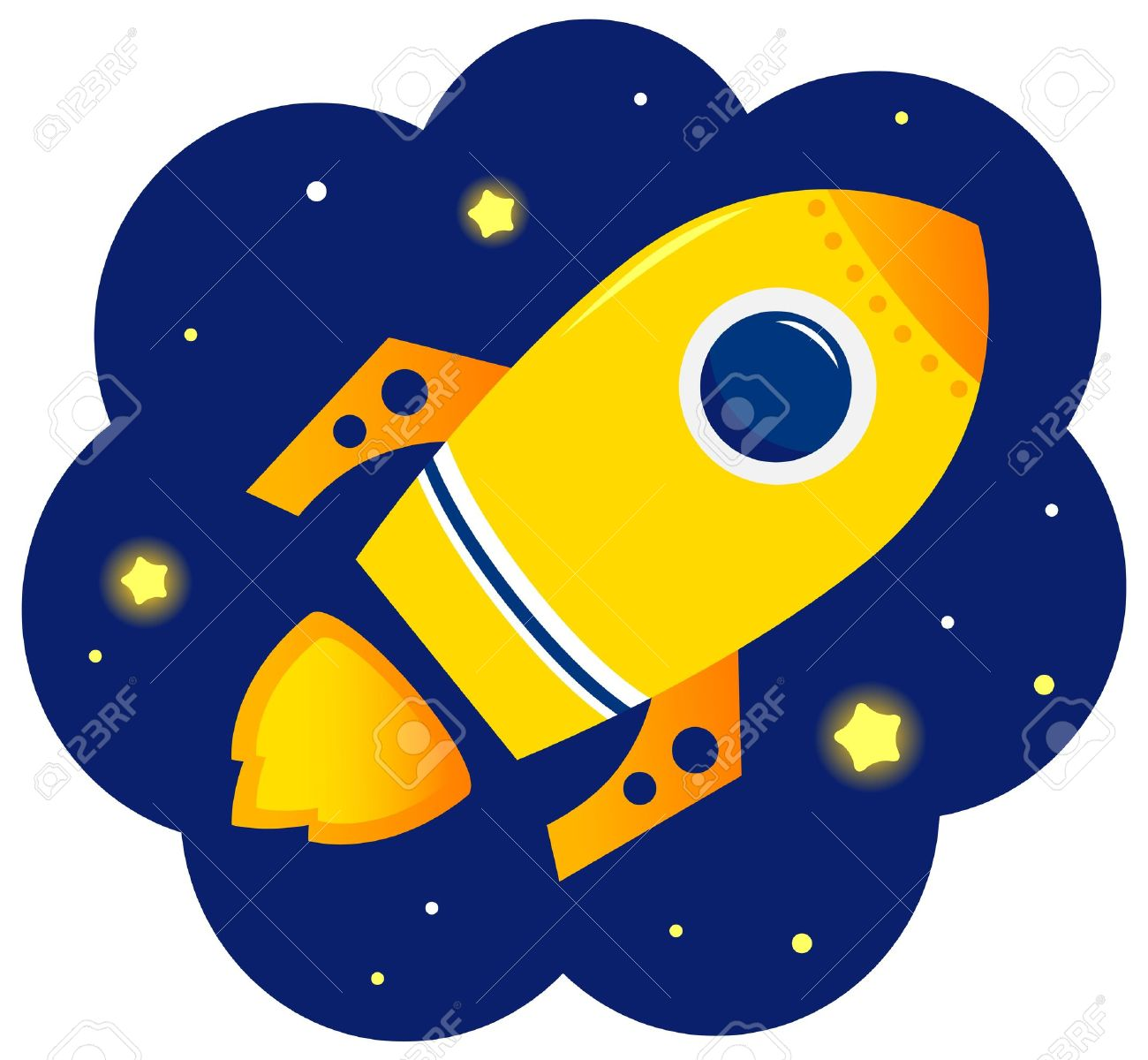 Yellow Vector Rocket In Space. Cartoon Illustration Royalty Free.