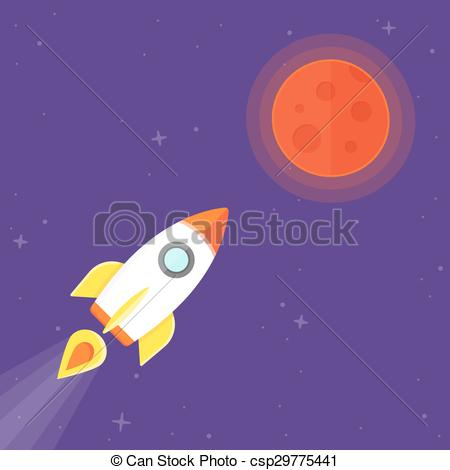 EPS Vector of Rocket and Mars Planet.