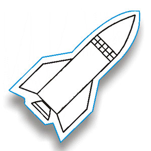 Rocket Outline Clipart.