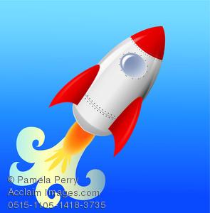 Clip Art Image of a Cute Rocketship Blasting Off.