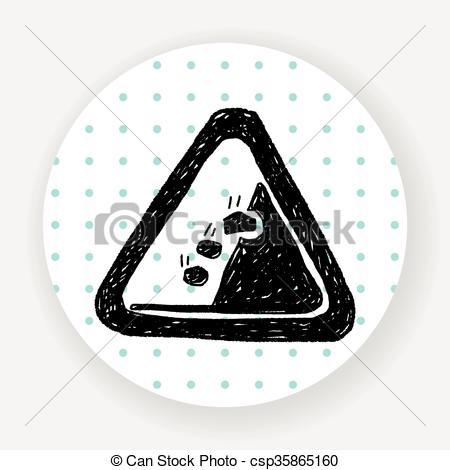 Clip Art Vector of Rockfall doodle csp35865160.