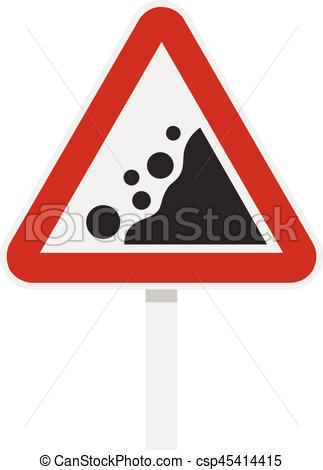 Vector Clip Art of Rockfall traffic sign icon, flat style.