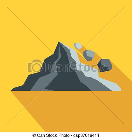 Vector Clip Art of Rockfall icon in flat style on a yellow.