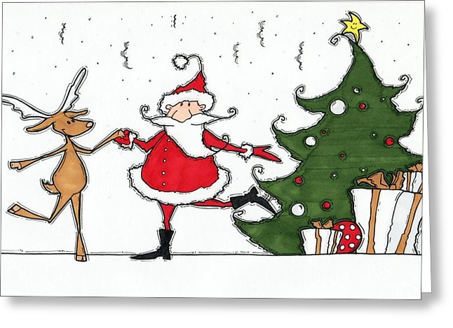 Rocking Around The Christmas Tree Drawing by Maria Varga.