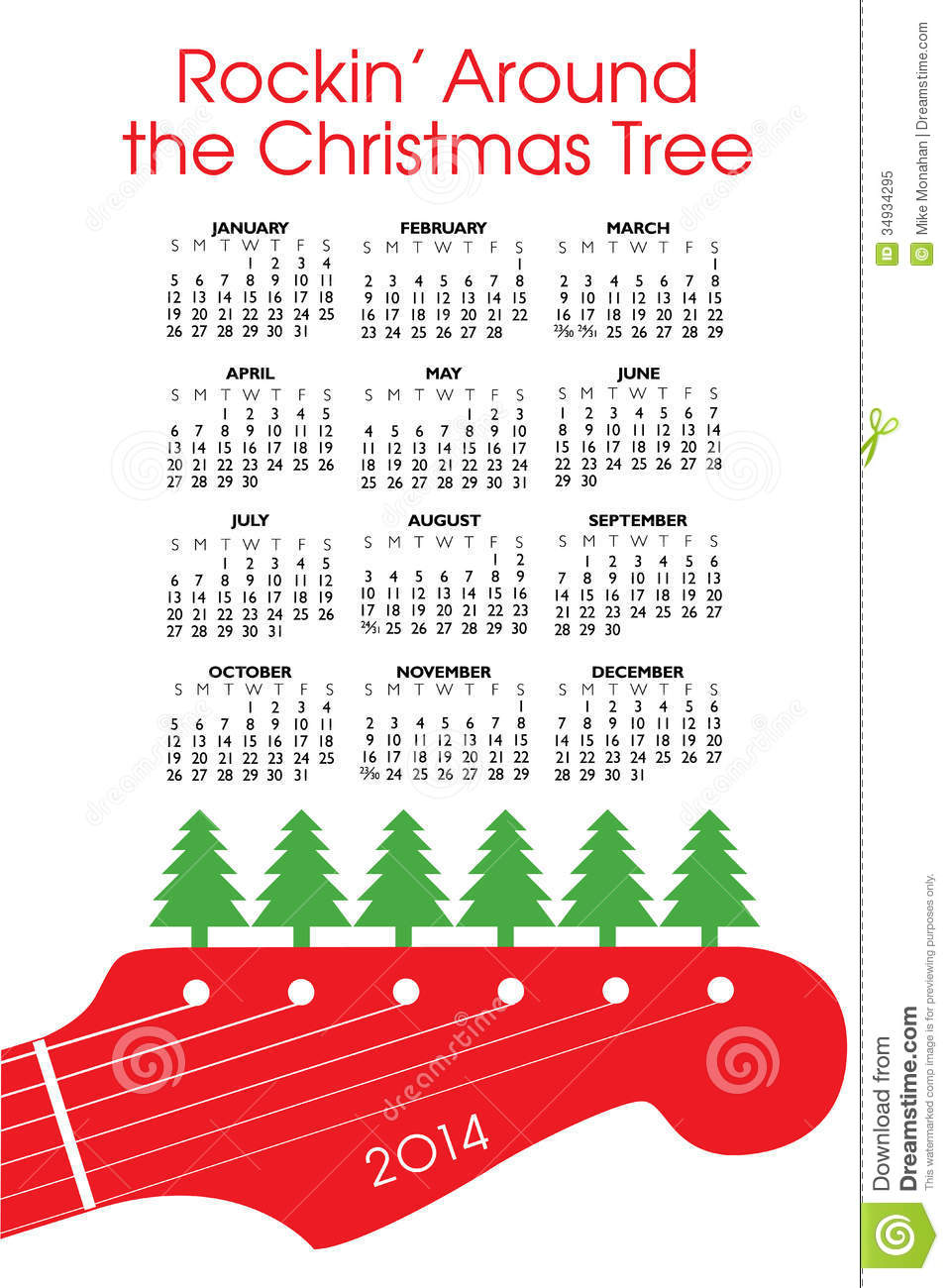 2014 Christmas Calendar Royalty Free Stock Photo.