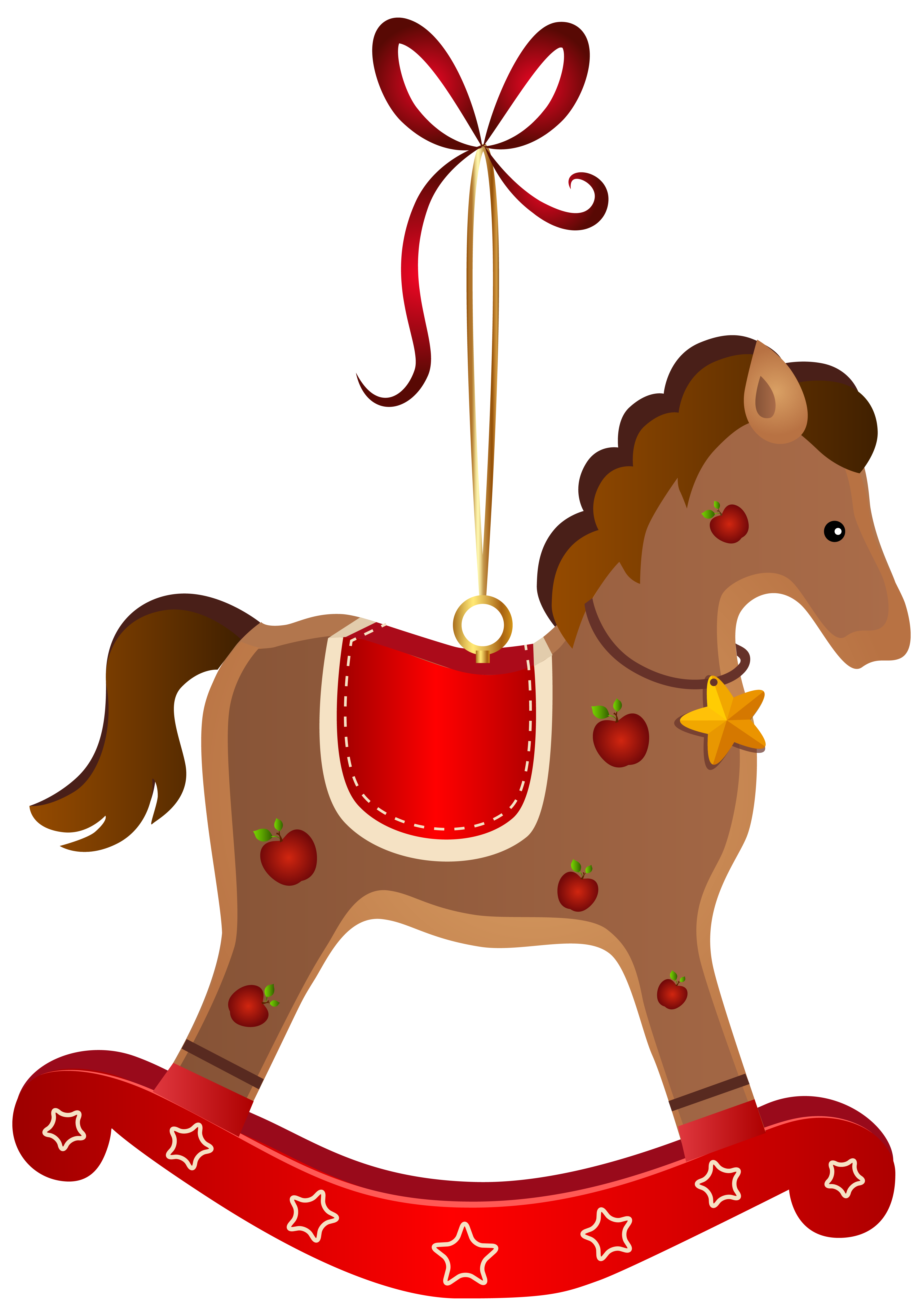 Rocking Horse Christmas Ornament Transparent PNG Clip Art Image.