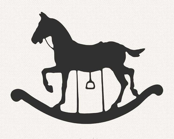 Black baby rocking horse clipart with no background.