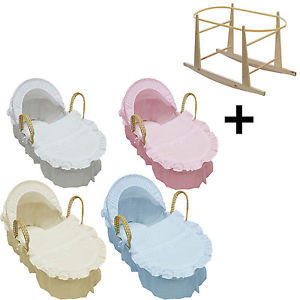 Broderie Anglaise Moses Basket With Mattress, Covers And Rocking.