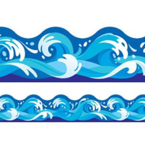 Wave Border Clip Art, Water Border Image, Water ClipArt, PNG + PS.