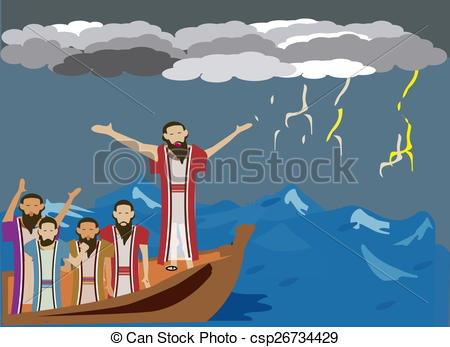 Clip Art of Wind and the sea obey Jesus.