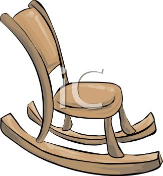 Picture of a Wooden Rocking Chair In a Vector Clip Art.
